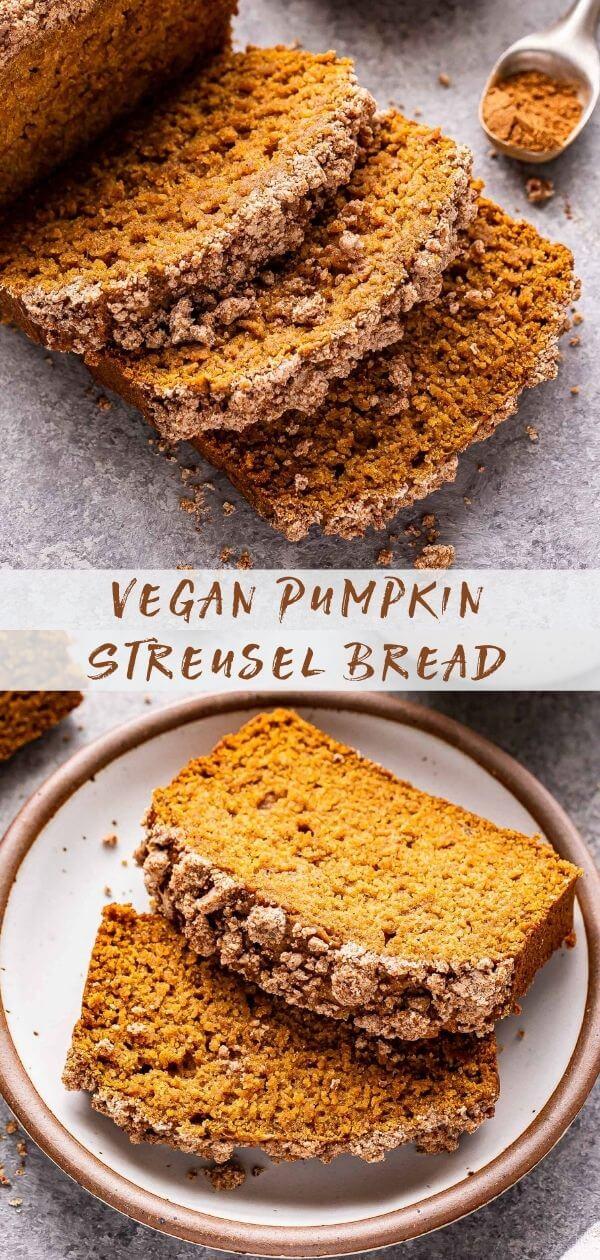 Vegan Pumpkin Streusel Bread pinterest collage