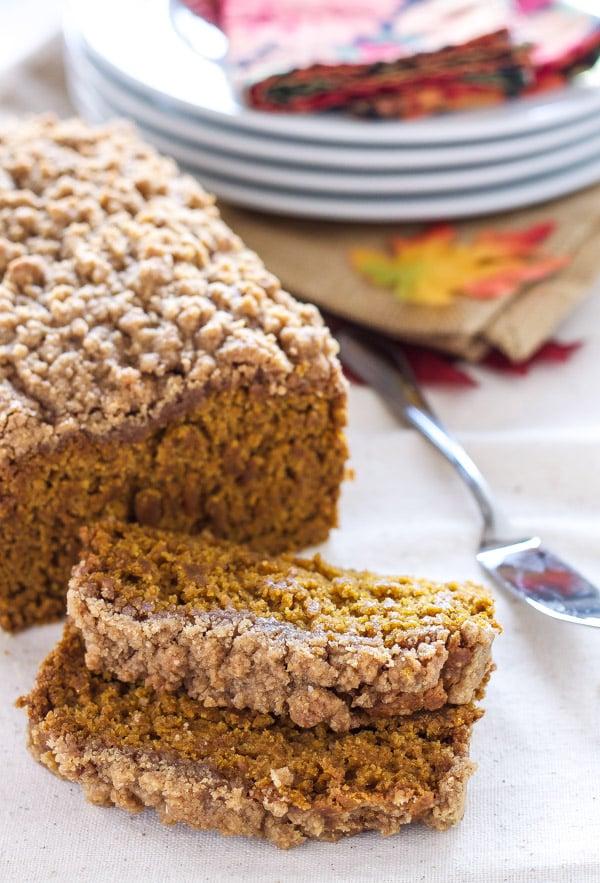 Vegan Pumpkin Streusel Bread   Recipe Runner   Moist vegan pumpkin spiced bread topped with delicious streusel!