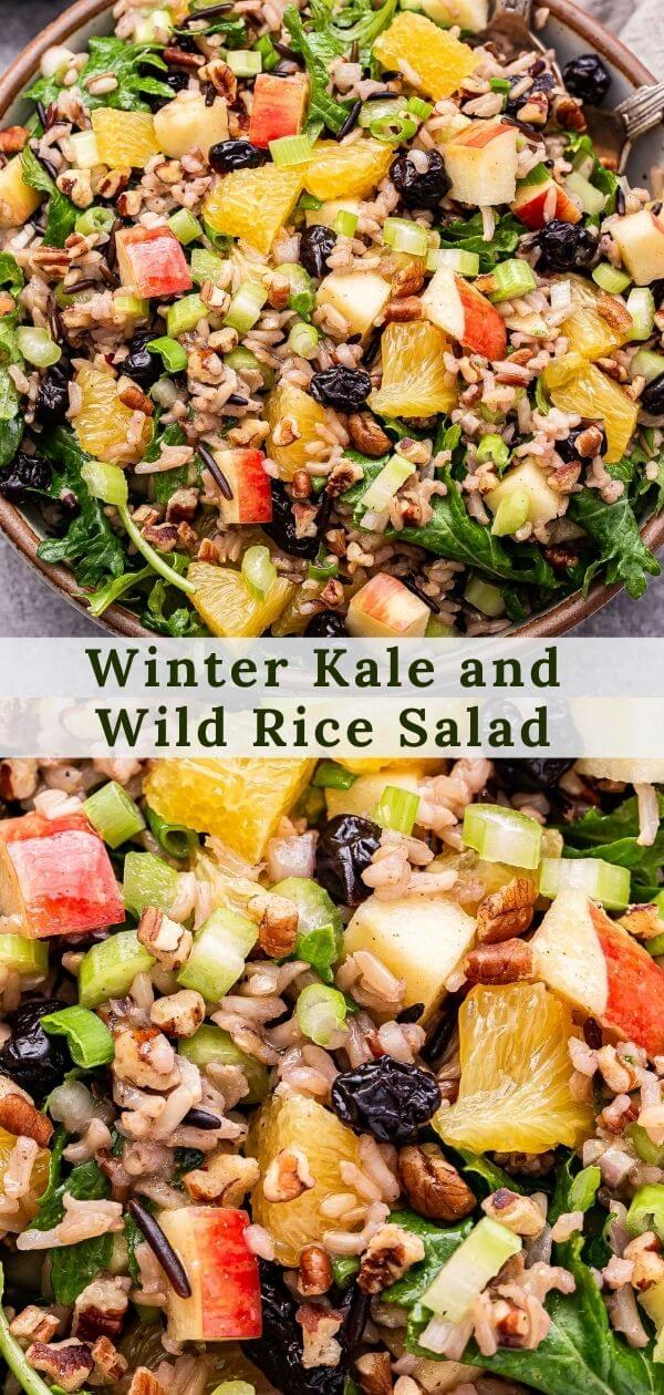 Winter Kale and Wild Rice Salad Pinterest collage