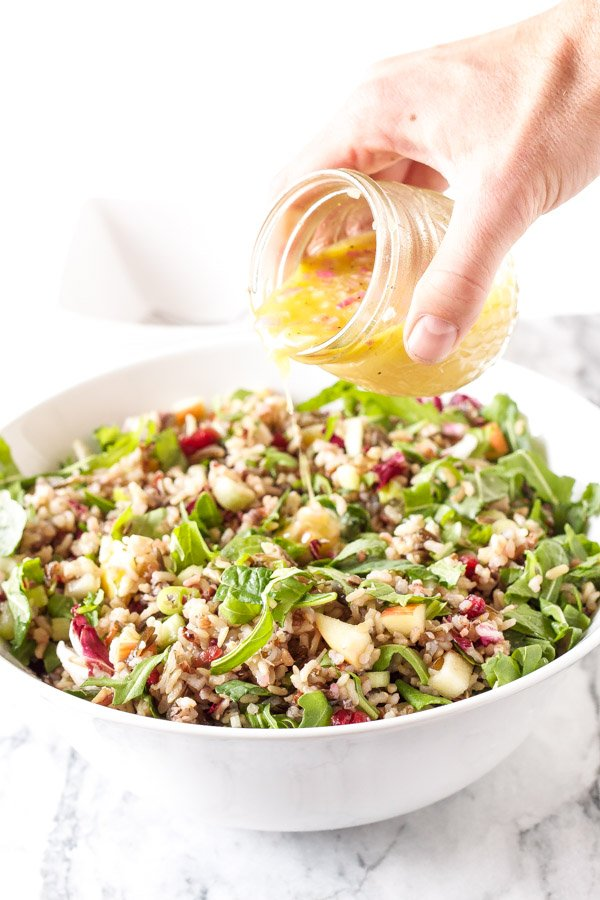 Winter Kale and Wild Rice Salad | www.reciperunner.com | A gorgeous, healthy, and flavorful whole grain salad perfect for serving this holiday season! #vegan #glutenfree
