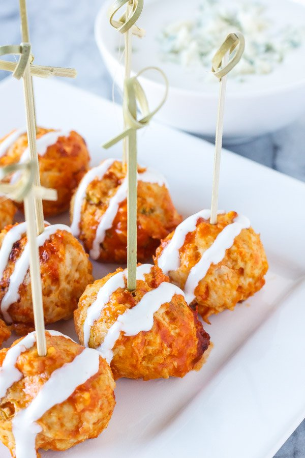 Buffalo Chicken and Blue Cheese Stuffed Meatballs | These blue cheese stuffed meatballs are a healthier alternative to buffalo chicken wings, the perfect bite sized appetizer! | www.reciperunner.com