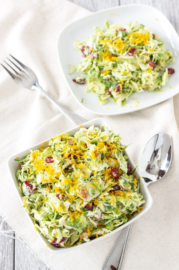 Cranberry Orange Brussels Sprout Slaw | I can't get enough of this sweet tangy winter slaw! | www.reciperunner.com