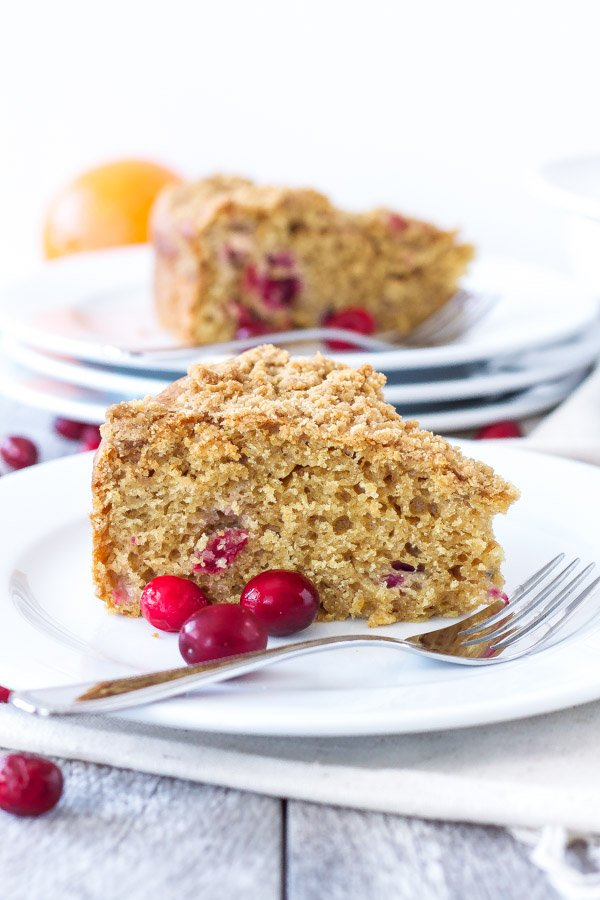 Cranberry Orange Coffee Cake | This moist and healthier coffee cake is perfect for brunch! | www.reciperunner.com