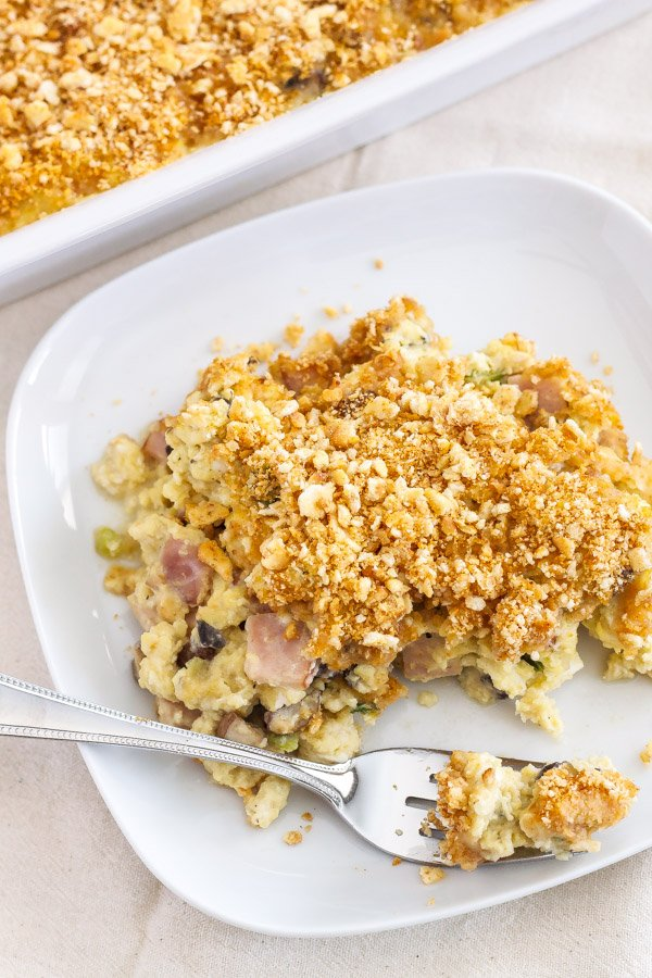 Egg Casserole with Mushrooms and Canadian Bacon | Make this egg casserole the night before, then bake it in the morning for a stress free breakfast! | www.reciperunner.com