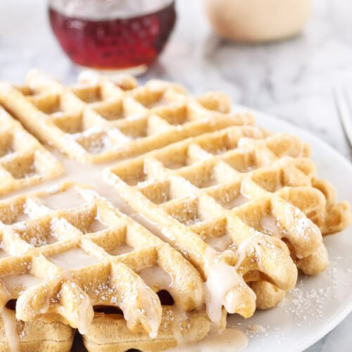 Eggnog Waffles   If you love eggnog these are the perfect seasonal waffles for you!   www.reciperunner.com