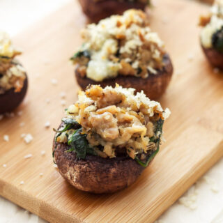 Sausage and Gorgonzola Stuffed Meatballs | Mushrooms stuffed with sausage, spinach, and gorgonzola cheese are the perfect one bite appetizer! | www.reciperunner.com
