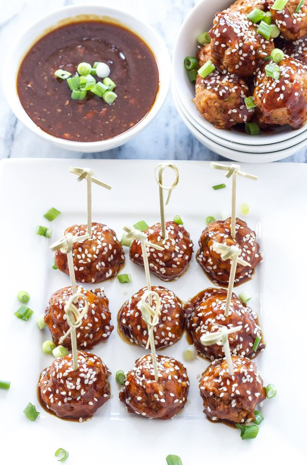 Slow Cooker Teriyaki Meatballs | Sweet, skicky, and healthy teriyaki meatballs are a perfect, easy to make appetizer! | www.reciperunner.com