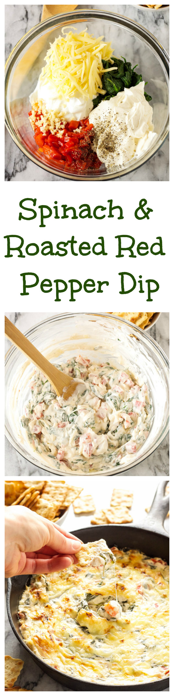 Spinach and Roasted Red Pepper Dip   This creamy and cheesy dip is the perfect appetizer for parties and holiday entertaining! @target #WaysToWow #ad   www.reciperunner.com