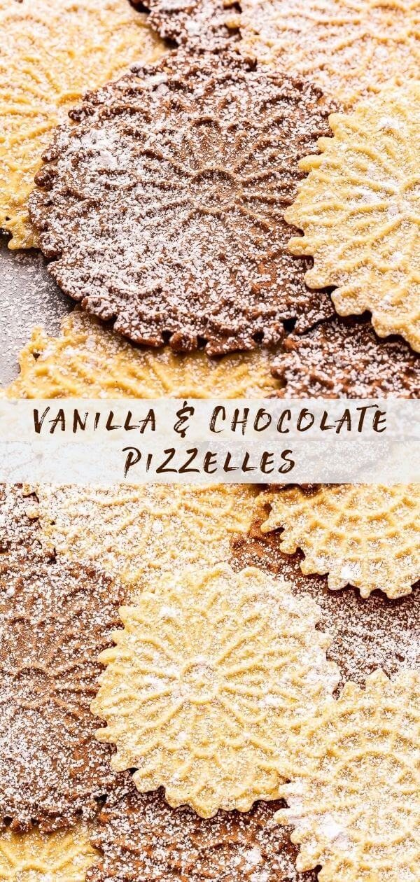 Vanilla and Chocolate Pizzelles Pinterest Collage.