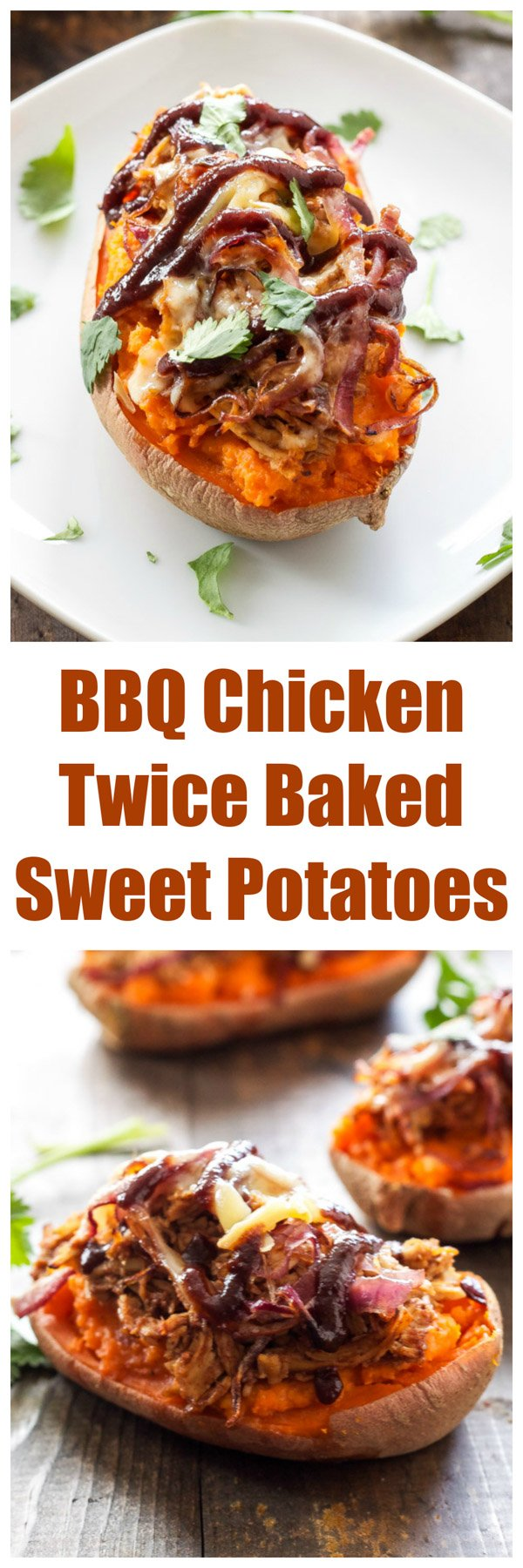 BBQ Chicken Twice Baked Sweet Potatoes | 5 ingredient twice baked sweet potatoes stuffed with BBQ chicken and smoked gouda! | www.reciperunner.com