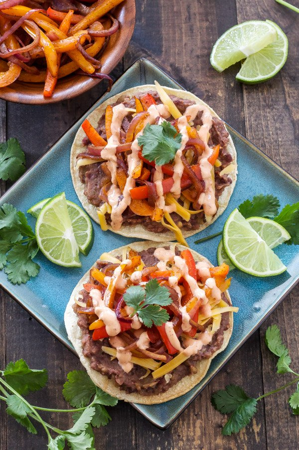 Chipotle Black Bean Tostadas with Onions and Peppers | Vegetarian ...