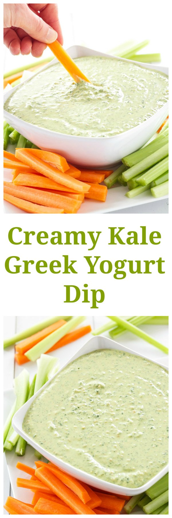 Creamy Kale Greek Yogurt Dip | Finally a dip you can feel good about eating! | www.reciperunner.com