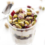Pistachio and Dried Cherry Yogurt Parfait | A healthy, sweet and salty snack pairing that is full of protein! | www.reciperunner.com