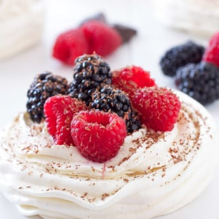 Berries and Cream Meringue Nests