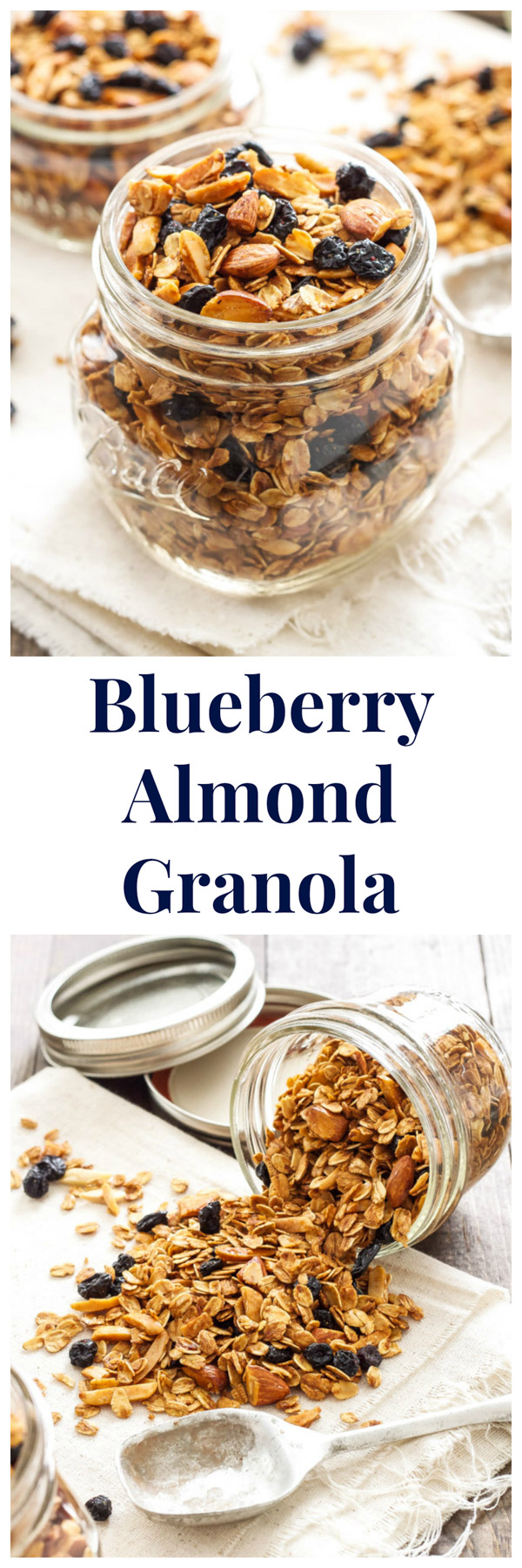 Blueberry Almond Granola | Crunchy, sweet, granola bursting with dried blueberries and almonds! | @reciperunner