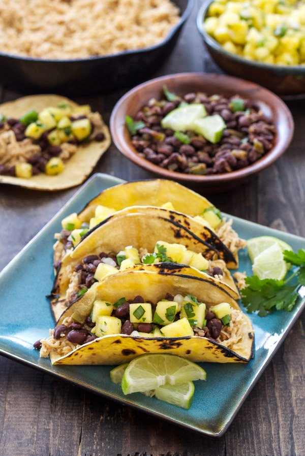 Cuban Chicken And Black Bean Tacos With Pineapple Salsa Flavorful Slow Cooker Chicken Topped With