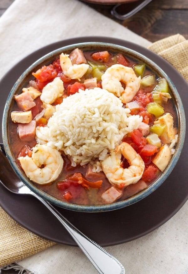 Healthy Cajun Jambalaya | My favorite jambalaya  straight from my grandma's recipe box! | @reciperunner