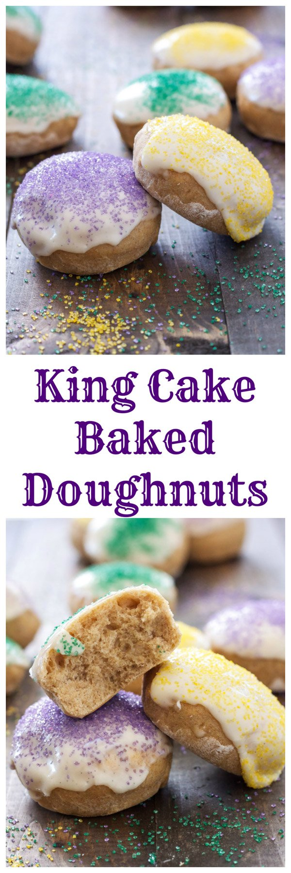 King Cake Baked Doughnuts | Doughnuts that taste like the traditional Mardi Gras King Cake! | @reciperunner