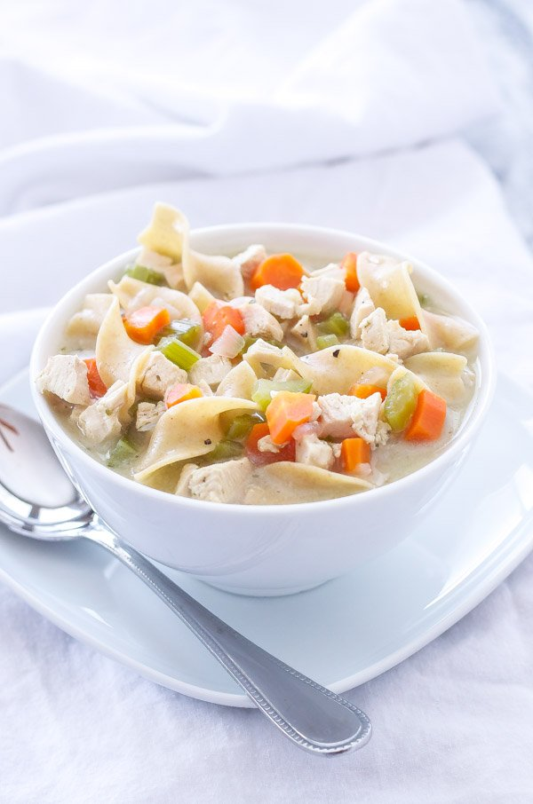 Lightened Up Creamy Chicken Noodle Soup   My favorite healthy, creamy, and delicious bowl of chicken noodle soup!   @reciperunner