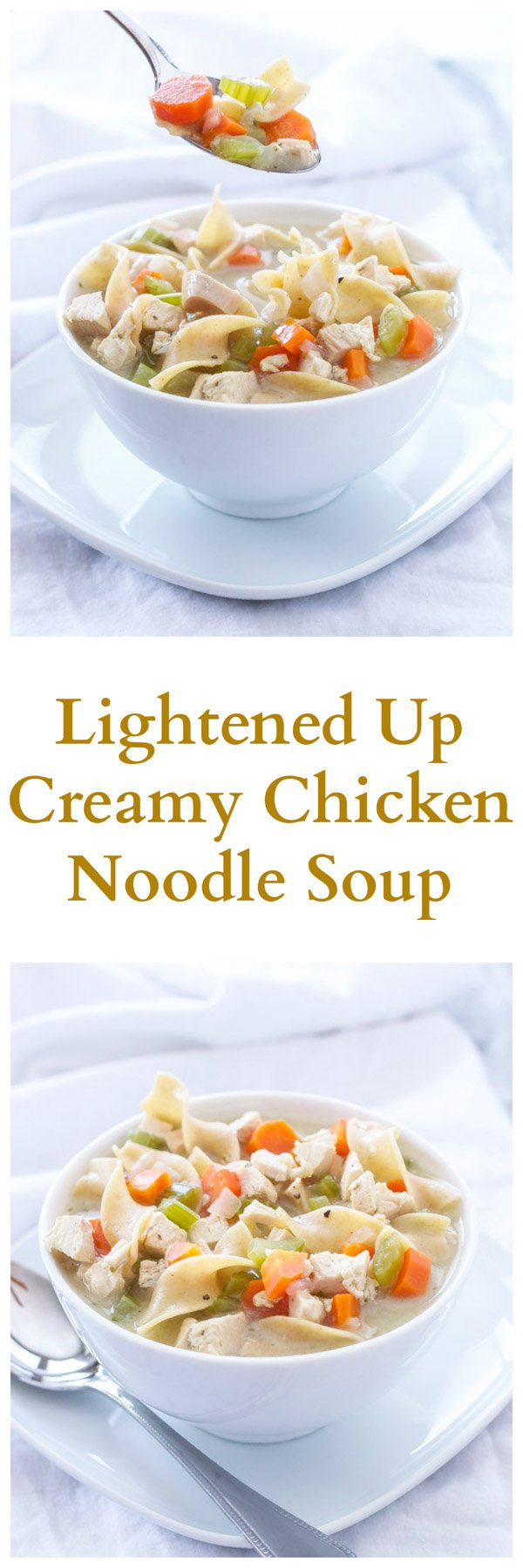 Lightened Up Creamy Chicken Noodle Soup | My favorite healthy, creamy, and delicious bowl of chicken noodle soup! | @reciperunner