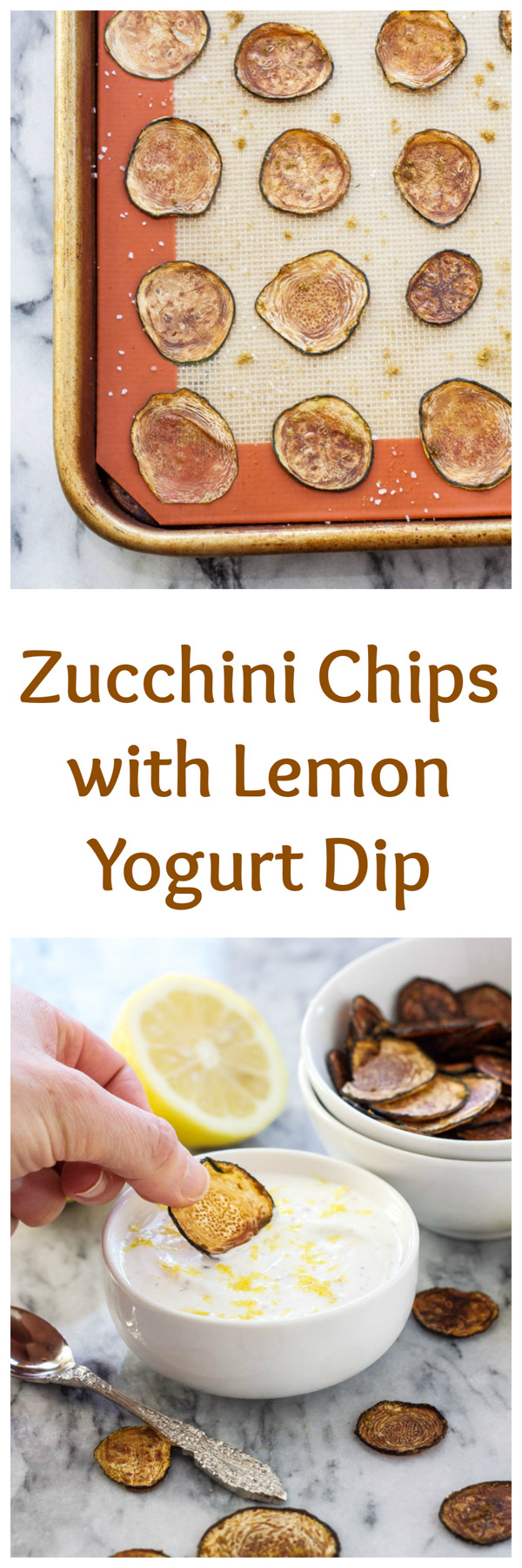Zucchini Chips with Lemon Yogurt Dip | Crisp, healthy, baked zucchini chips that taste better than a bag of potato chips! | @reciperunner