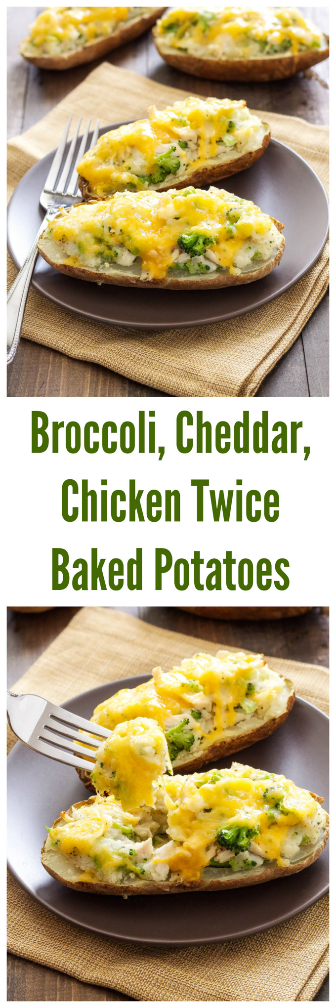 Broccoli, Cheddar, Chicken, Twice Baked Potatoes | A healthy and easy dinner the whole family will love! | @reciperunner