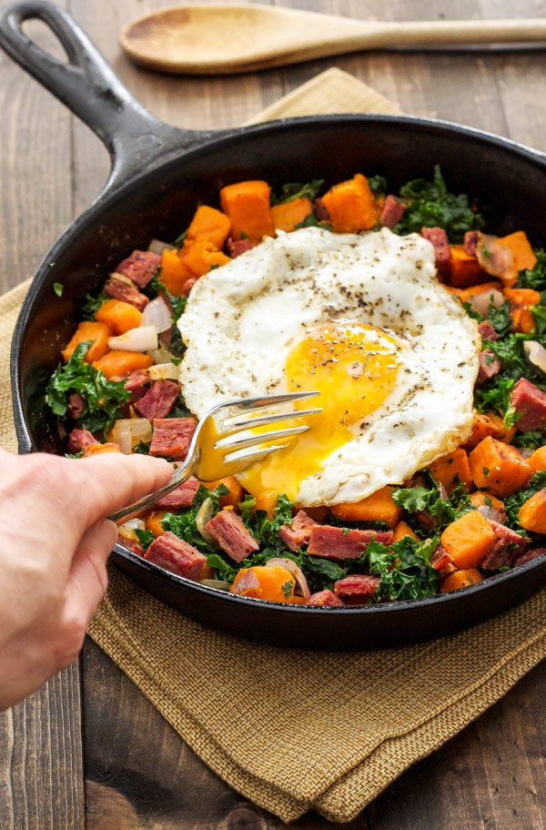 Corned Beef, Sweet Potato, and Kale Hash | The perfect hash to use up that leftover corned beef! via @reciperunner