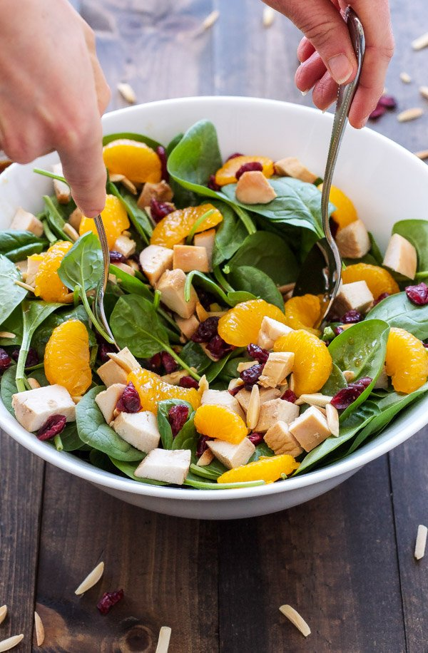 Teriyaki Chicken and Spinach Salad | A fresh Asian inspired salad with a delicious teriyaki dressing! | @reciperunner