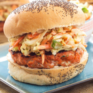 Teriyaki Salmon Burgers with Asian Slaw | This healthy Asian inspired salmon burger is perfect for grilling season! #WildAlaskaSeafood #CleverGirls