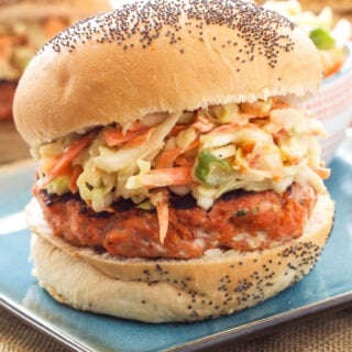 Teriyaki Salmon Burgers with Asian Slaw