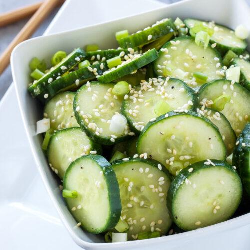 Asian Cucumber Sesame Salad   This fresh, gluten free, vegan cucumber salad is full of delicious Asian flavors!