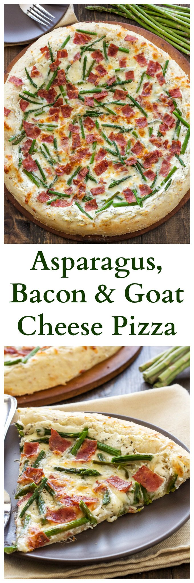 Asparagus, Bacon, and Goat Cheese Pizza | Asparagus, bacon, and goat cheese are the perfect pairings in the spring pizza!