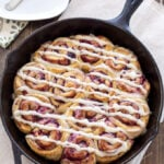 Blackberry Vanilla Sweet Rolls | No yeast sweet rolls with blackberry filling and cream cheese glaze are the perfect breakfast treat! | @reciperunner