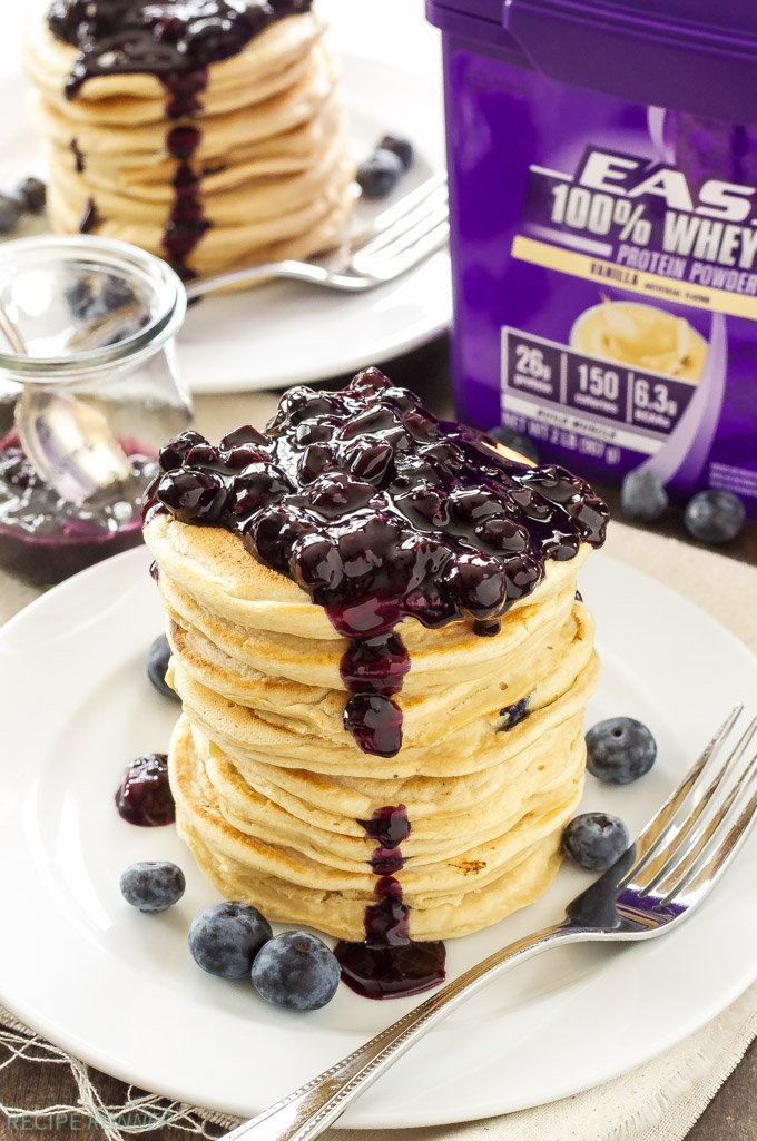 Blueberry Vanilla Protein Pancakes | Protein powder transforms these pancakes into a delicious protein packed breakfast! @EASBrand #ad