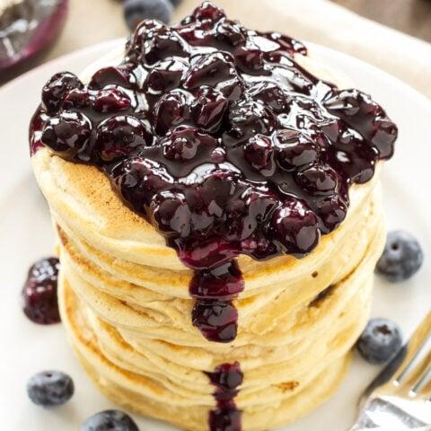 Blueberry Vanilla Protein Pancakes | Protein powder transforms these pancakes into a delicious protein packed breakfast! @EASBrand #ad