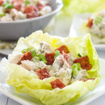 Chicken, Bacon, Ranch Lettuce Cups  Lightened up chicken salad flavored with crisp bacon and a healthy ranch dressing!