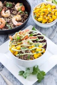 Cilantro Lime Shrimp Quinoa Bowls | Delicious healthy quinoa bowls full of Southwest and tropical favors! | @reciperunner