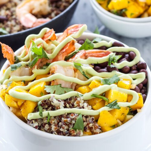 Cilantro Lime Shrimp Quinoa Bowls   Delicious healthy quinoa bowls full of Southwest and tropical favors!   @reciperunner