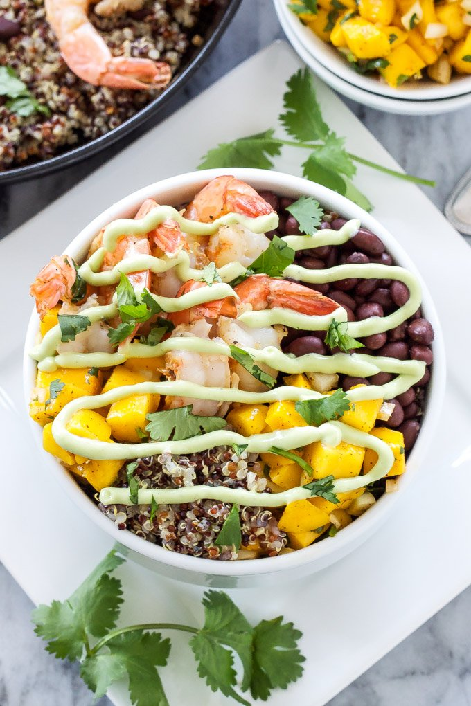 Cilantro Lime Shrimp Quinoa Bowls | Delicious healthy quinoa bowls full of Southwest and tropical favors! | @reciperunner