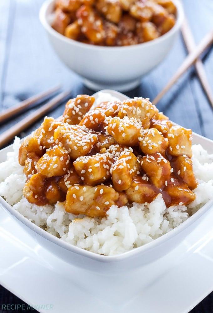 Honey Sriracha Sesame Chicken | Sweet and spicy chicken! So much tastier and healthier than takeout! | @reciperunner