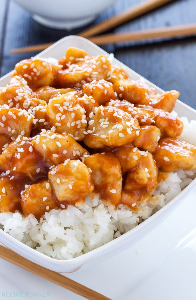 Honey sriracha sesame chicken recipe runner honey sriracha sesame chicken sweet and spicy chicken so much tastier and healthier than forumfinder Images