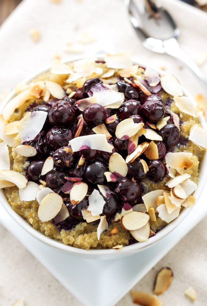 Vanilla Quinoa and Roasted Blueberry Breakfast Bowl