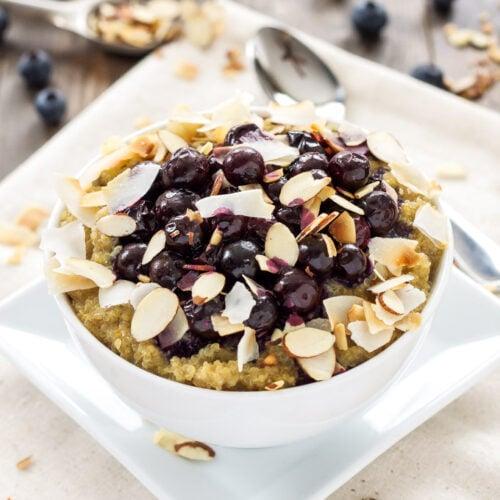Roasted Blueberry Quinoa Breakfast Bowls | This delicious quinoa bowl uses vanilla soymilk making it a great dairy-free and vegan breakfast! @lovemysilk #ad