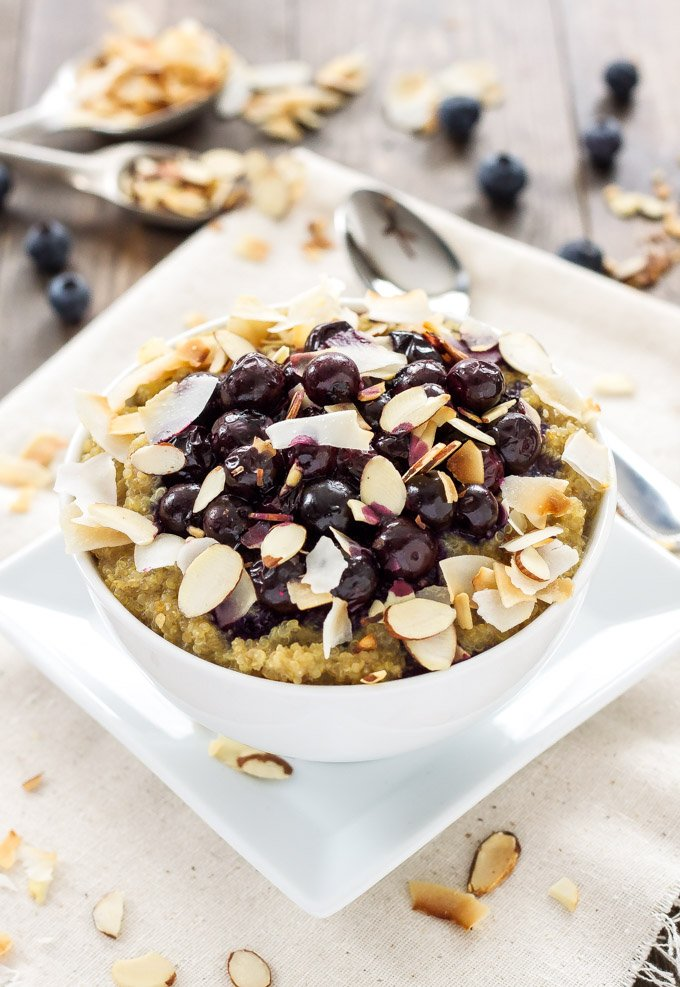Vanilla Quinoa and Roasted Blueberry Breakfast Bowl