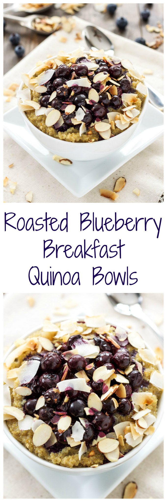 Roasted Blueberry Quinoa Breakfast Bowls | This delicious quinoa bowl uses vanilla soymilk making it a great dairy-free and vegan breakfast! @lovemysilk #ad