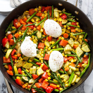 Vegetable Hash with Poached Eggs | An easy to make hash full of vegetables! Vegetarian, low carb, gluten free, & paleo.