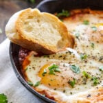 Baked Eggs in Marinara Sauce | 3 ingredients are all you need to make these delicious Italian flavored baked eggs!
