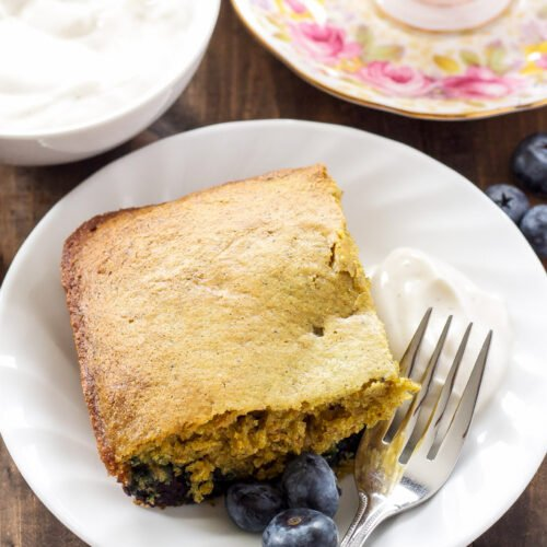 Blueberry Chamomile Breakfast Cake   Blueberries and chamomile tea are the perfect combination in this cake that's healthy enough for breakfast!