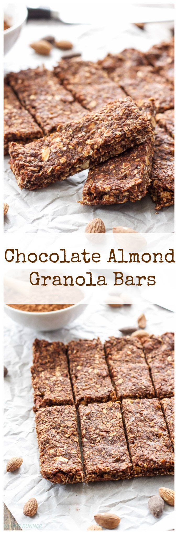 Chocolate Almond Granola Bars | Easy to make, no bake, healthy granola bars! #ad