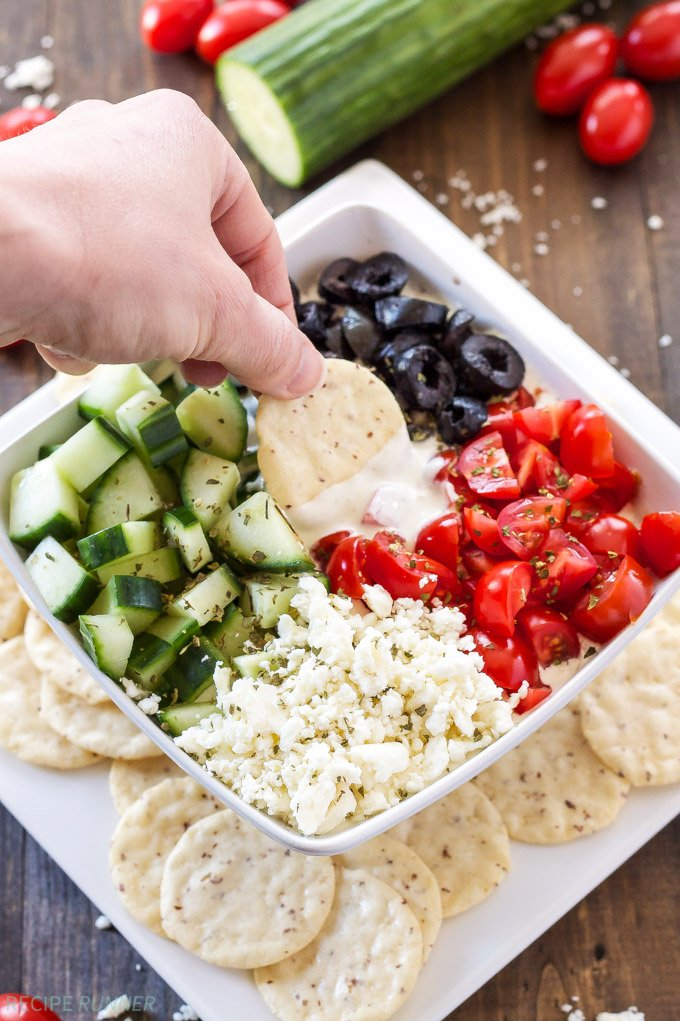 Mediterranean Whipped Feta Dip | This gluten free delicious dip is full of Mediterranean flavors and perfect for summer!